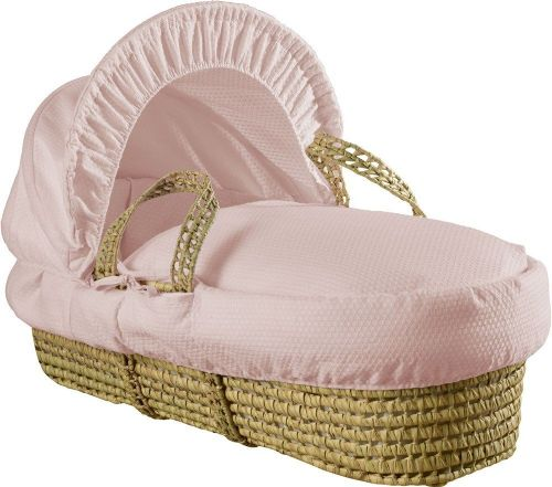 Palm Moses Basket - Cotton Dream Pink